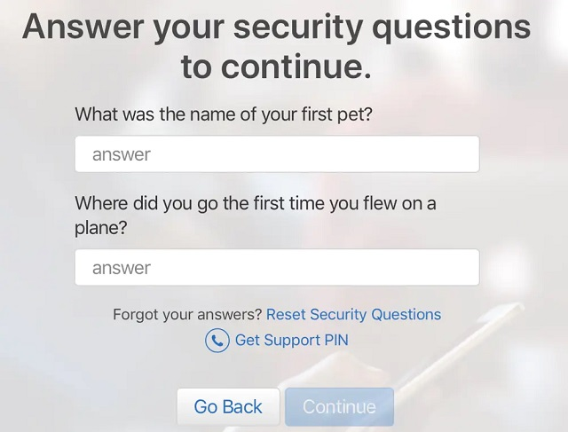 answer security questions