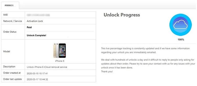apple iphone unlock progress