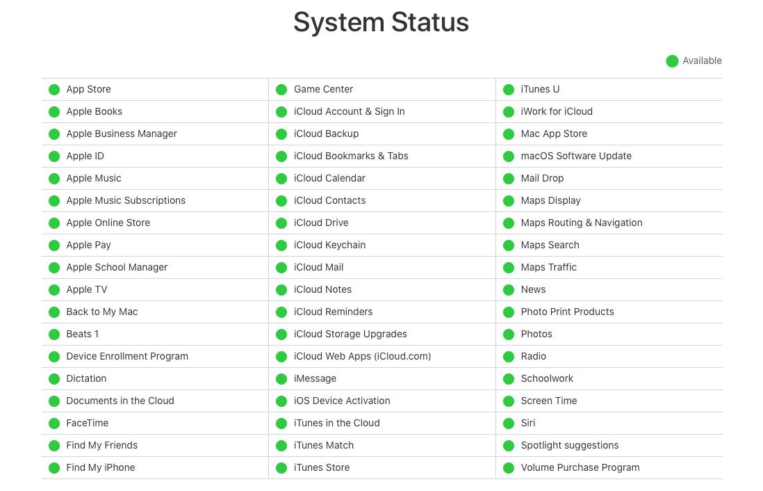 apple system status