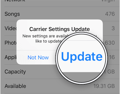 carrier settings update iphone