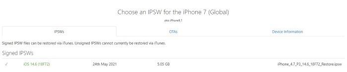 choose an ipsw