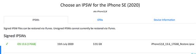 choose the IPSW file