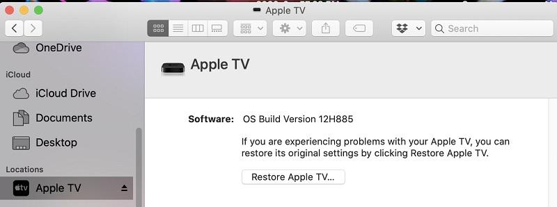 downgrade tvos on apple tv