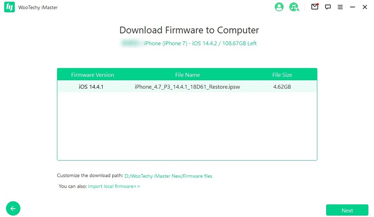 download firmware to computer downgrade