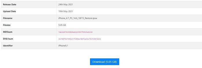 download selected ipsw