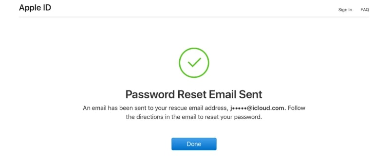 email reset apple id password