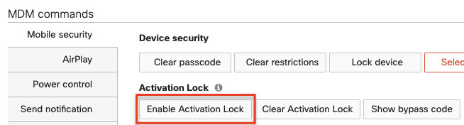 Enable activation lock