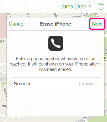 enter phone number to erase iphone