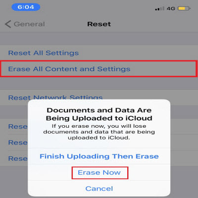 erase all content and settings