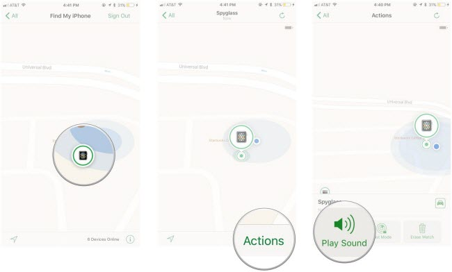 play sound feature in find my iphone