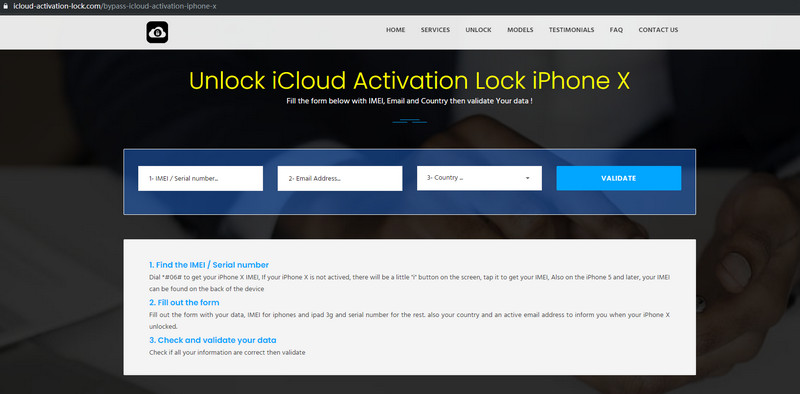 Steps to unlock iCloud activation lock with online removals