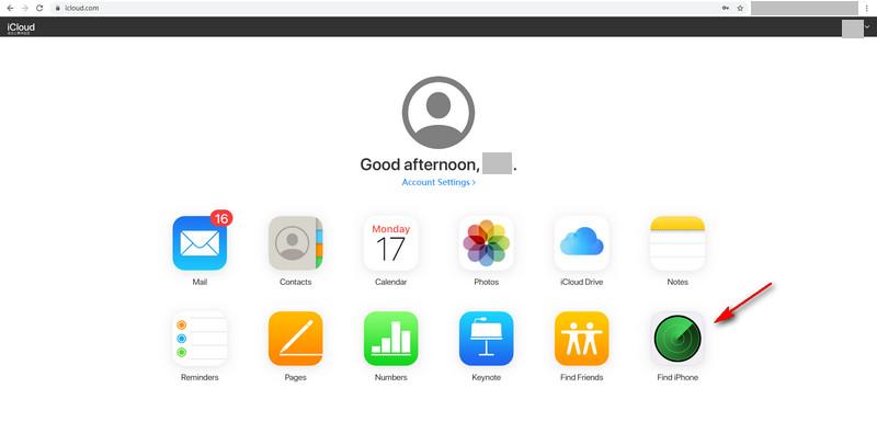 Find iPhone in iCloud website
