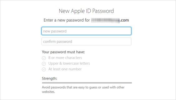 new apple id password