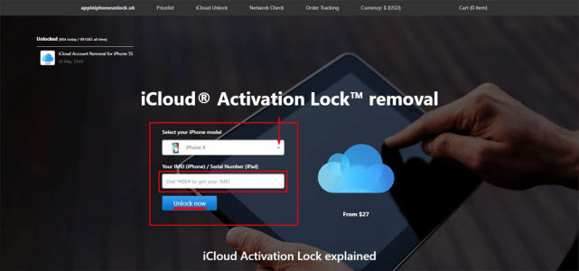 online service to remove activation lock