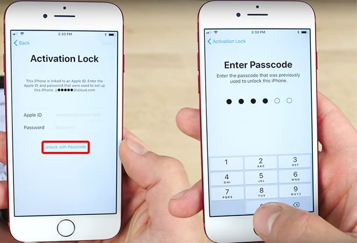 Remove activation lock with screen passcode