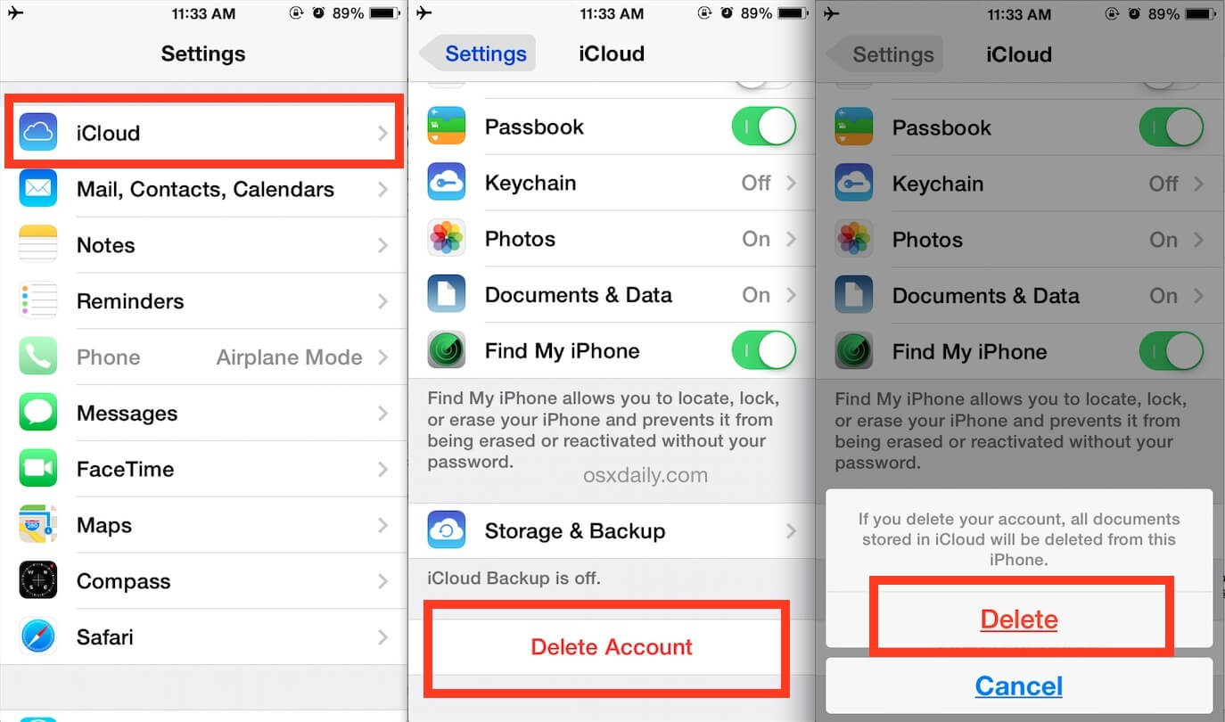 remove icloud in settings