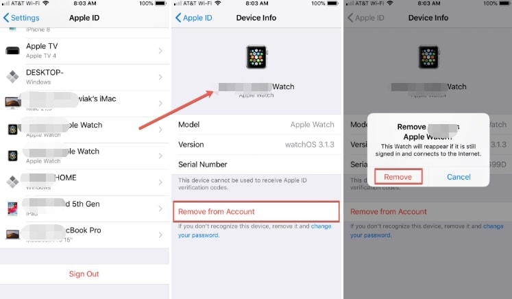 remove iphone from apple id