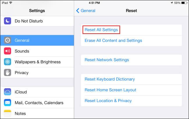 reset all settings ipad
