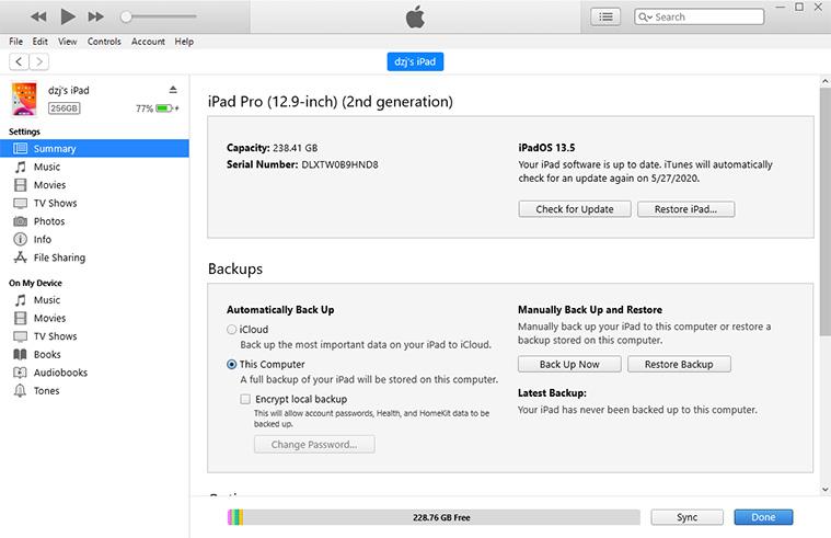 wipe ipad via iTunes