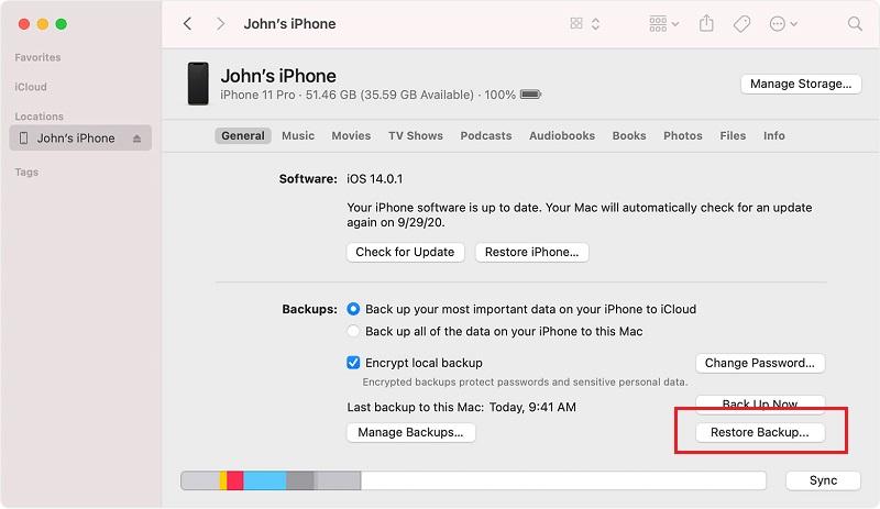 restore iphone data