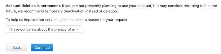select reason for icloud account deletion
