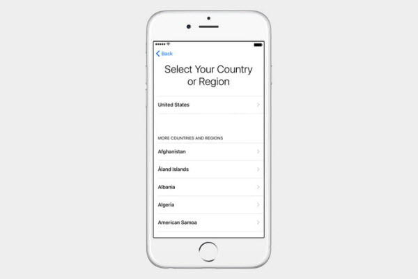 set up iphone country