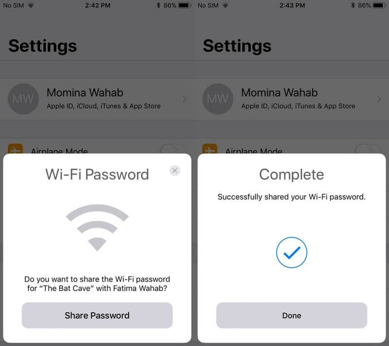 share wifi password with another iphone