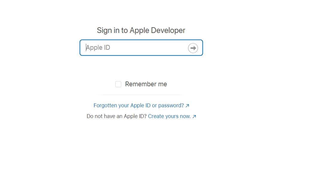 sign in to apple developer