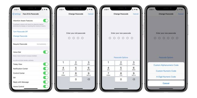 stop your passcode from changing to six digits
