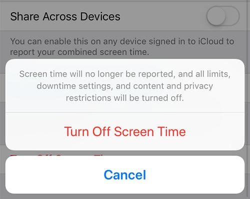 tap turn off screen time