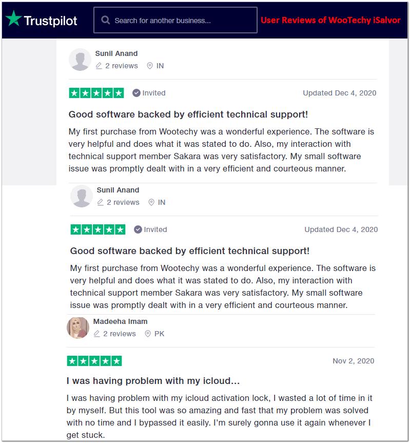 WooTechy iSalvor reviews from Trustpilot
