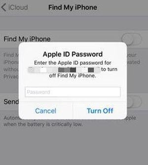 turn off find my iphone on lower versions