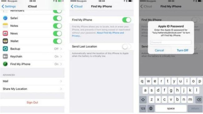 turn off FMI on iphone and ipad