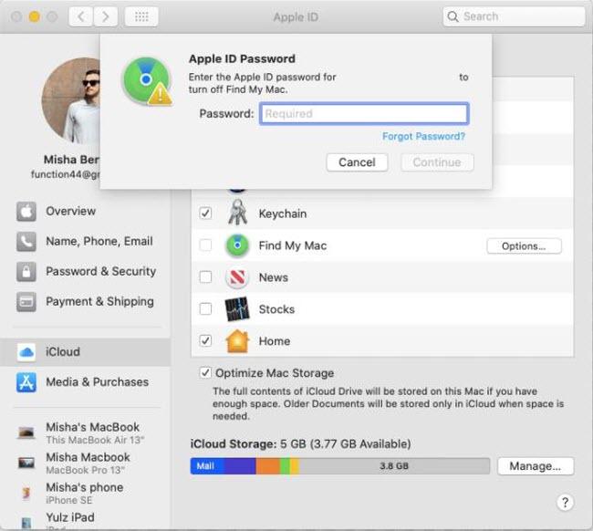 disable FMI on Mac