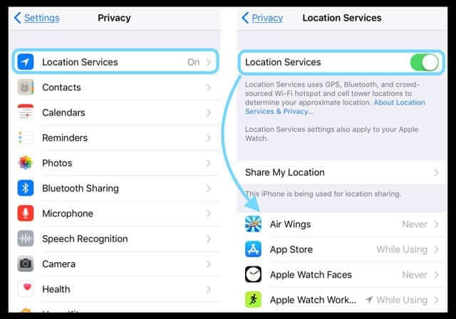 turn off location service