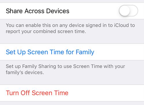 turn off screen time