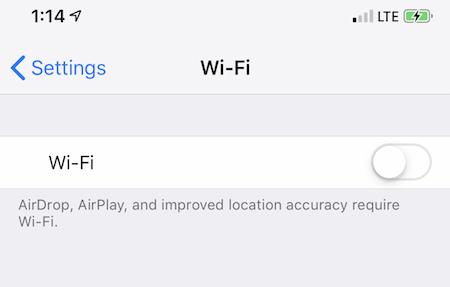 turn on wifi iphone