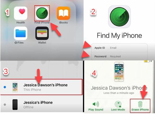 unlock iphone passcode using find my iphone app
