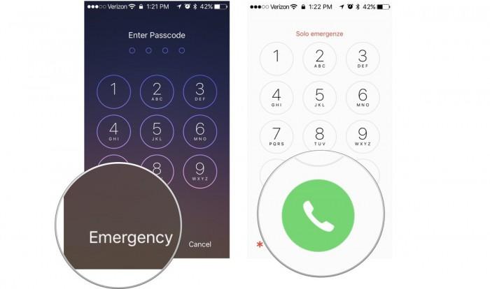 use emergency call erase iphone