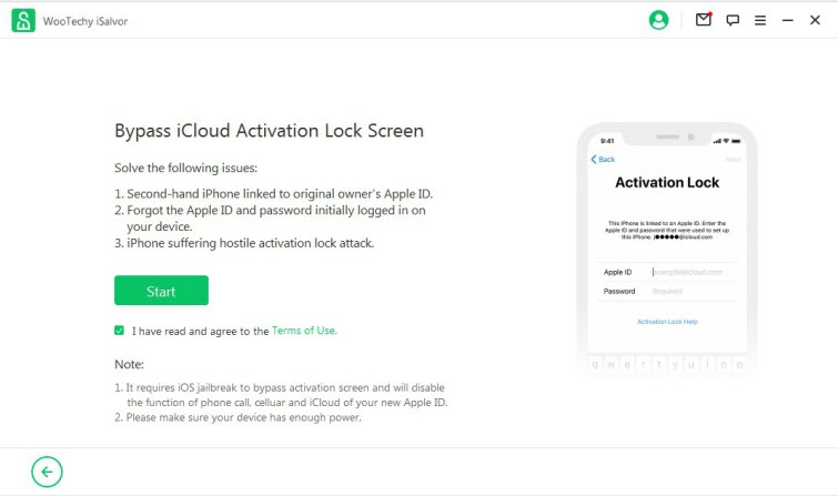 start to use WooTechy iSalvor to bypass activation lock