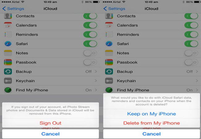 delete icloud from iphone