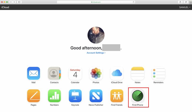 iCloud website Find iPhone