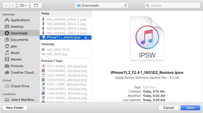 choose iOS 12.4.7 ipsw firmware file