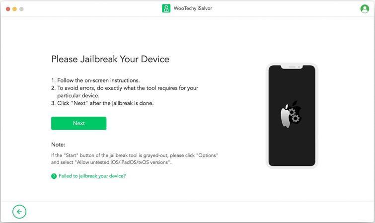 start to jailbreak your device